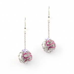 Botanical Drop Earrings (Rhodium)