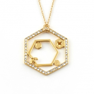 Hexagon Bee Long Pendant Copy