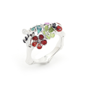 Floral Bug Ring - Rhodium - Small Size Only