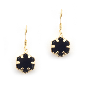 Mini Filigree Hexagon Earrings - Onyx