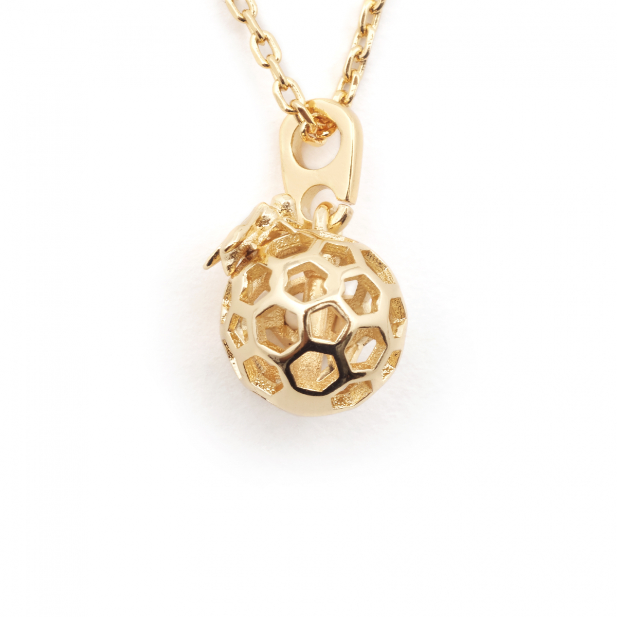 Mini Bee & Honeycomb Orb Necklace - Gold