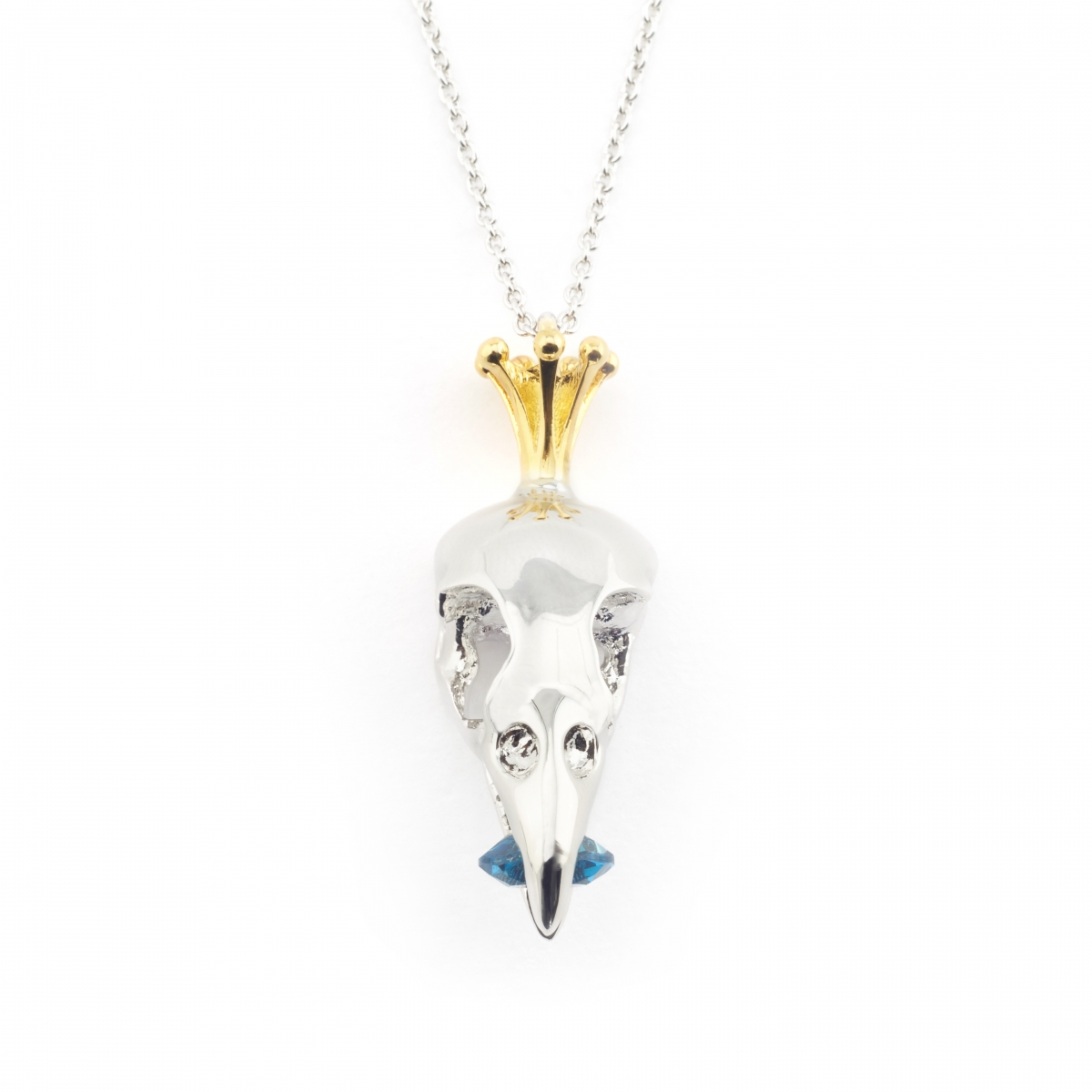 Bird Skull and Crown Pendant