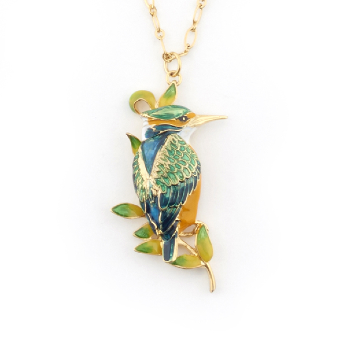 Kingfisher Long Pendant & Brooch (Gold)