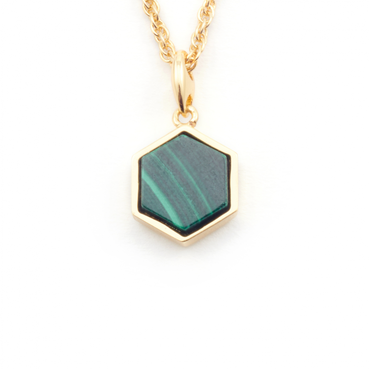 Filigree Hexagon Pendant Mini - Malachite