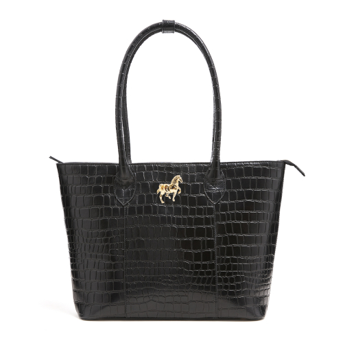 Horse Croc Tote Bag - Black