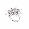 Alternate Image For Starburst Ring - Rhodium