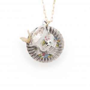 Tea Party Cup & Saucer Pendant - Butterfly
