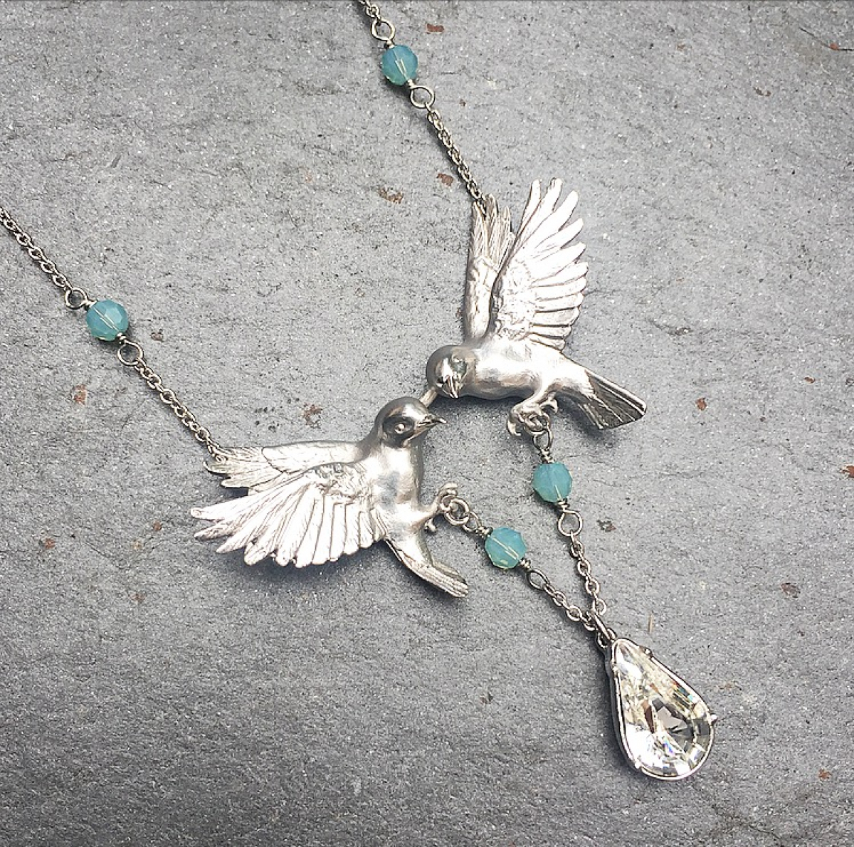 Double Bird Crystal Necklace