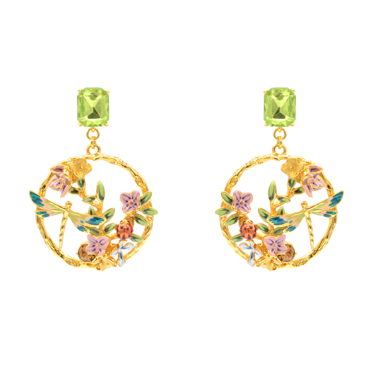 Dragonfly & Floral Statement Earrings