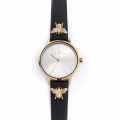 Alternate Image For Queen Bee Leather Watch - Black