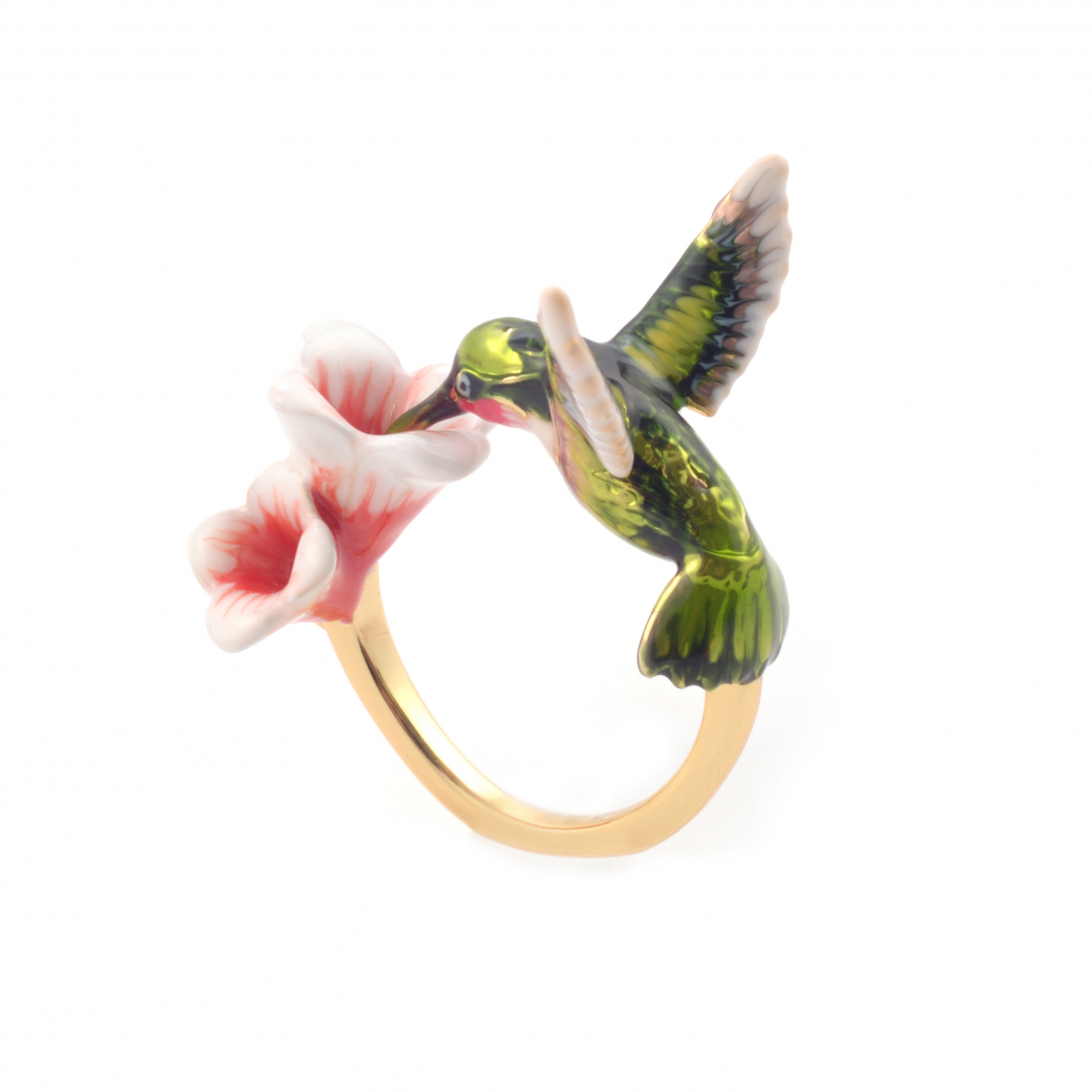Hummingbird & Flower Open Ring