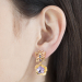Alternate Image For Mini Botanical Floral Drop Earring - Gold