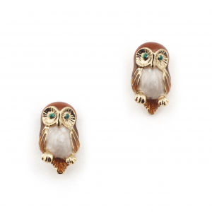 Owl Mini Stud Earring - Brown