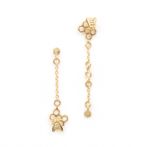 Hexagon Bee Charm Drop Earring - Gold
