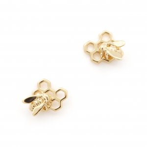 Hexagon Bee Honeycomb Bee Stud - Gold