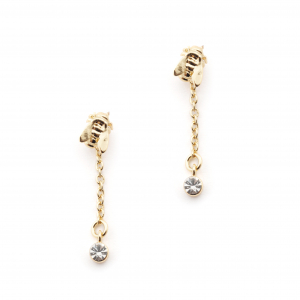 Hexagon Bee Crystal Drop Earring - Gold