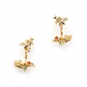 Bee & Floral Mini Through Earrings - Gold