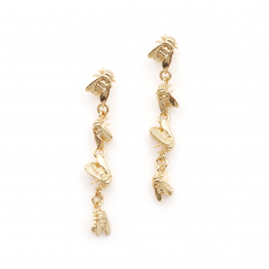 Bee Drop Link Earrings - Gold