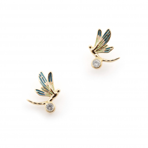 Dragonfly Crystal Stud - Gold
