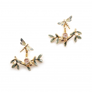 Dragonfly Through Earrings - Gold