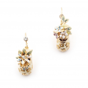 Baby Shoes Floral Drop Earrings