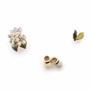 Baby Shoes & Floral Leaves Earring Set