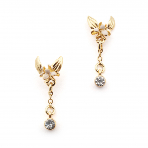 Magnolia Flower Crystal Drop Earrings