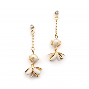 Magnolia Flower Cluster Drop Earrings