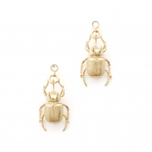Statement Beetle Earrings - Gold