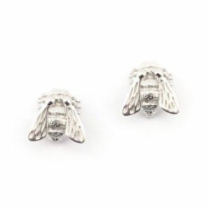 Baby Bee Stud Earrings Silver