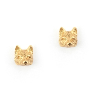 Fox Stud Earrings Gold