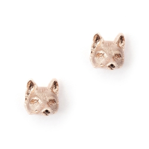Fox Stud Earrings Rose Gold