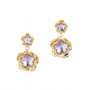 Double Botanical Flower Drop Earring - Gold
