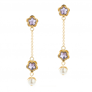 Botanical Floral Drop Earring - Gold