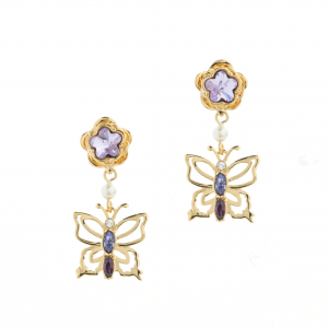 Botanical Butterfly Mini Drop Earring - Gold