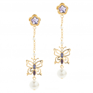 Long Botanical Butterfly Drop Earring - Gold