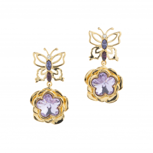 Mini Botanical Floral Drop Earring - Gold
