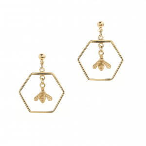 Hexagon & Bee Stud Earring