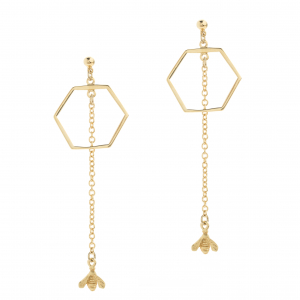 Long Hexagon Bee Stud Drop Earring