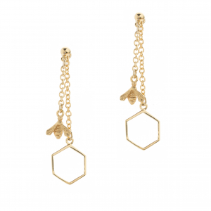 Bee & Hexagon Through Earring