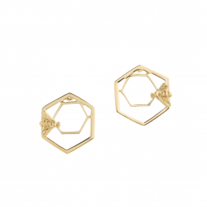 Statement Bee & Hexagon Stud Earring