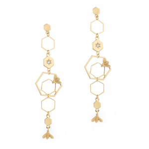 Multi Statement Bee & Hexagon Drop Earring