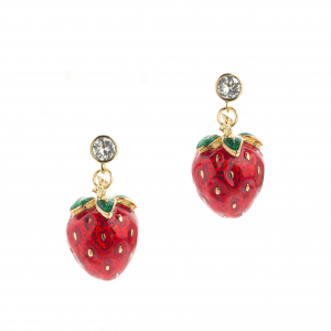Strawberry & Crystal Drop Earring