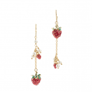 Strawberry Charm Long Hook Earring