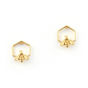 Hexagon Bee Studs - Gold
