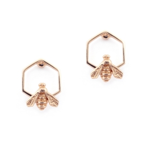 Hexagon Bee Studs Rose Gold