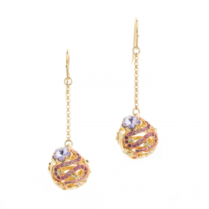 Botanical Orb Drop Earring - Gold