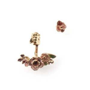 Mini Vintage Rose Through Earring & Stud