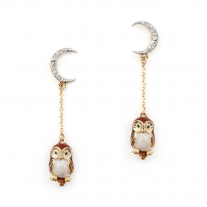 Owl & The Moon Drop Earrings - Brown