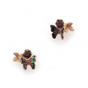 Butterfly Crystal Cluster Stud - Gold